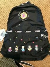 Disney Lesportsac Small World Embroidered Backpack & Charm Rare