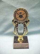 Baseball trophy black and gold jeweled with black wood base