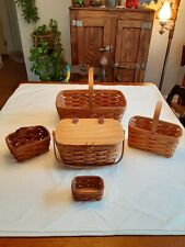 Longaberger baskets some w handles liners and lid lot of 5