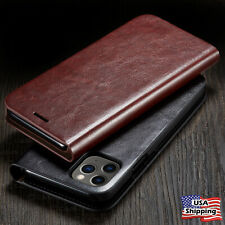 SLIM Genuine Leather Wallet Card Slot Thin Flip Case Cover For iPhone 11 PRO MAX