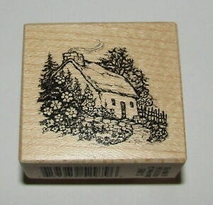 Country Cottage Rubber Stamp PSX Garden Chimney Wood Mounted RARE Design Cozy