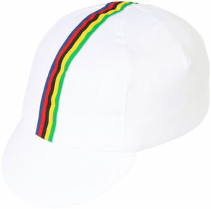 Pace Sportswear Traditional Cycling Cap - White/World Champion Stripe, XL