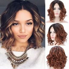 40cm Lace Front Wig Real Natural Brazilian Heat Resistant Curly Wave BOB Wigs #H
