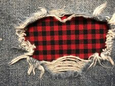 Red & Black Plaid Check Peek a Boo Iron On Holey patches(Asst. Sizes Available)
