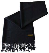 Black Solid Colour Design Shawl Pashmina Scarf Wrap Stole Throw CJ Apparel *NEW*
