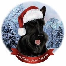 Scottish Terrier Dog Santa Hat Christmas Ornament Porcelain China USA-made