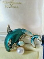 Stunning Vintage style Dolphin Brooch Turquoise Enamel  Blue White Clear Crystal