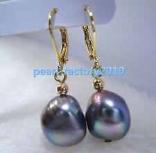 baroque AAA+ 11-12mm South Sea black Pearl 14K Gold Earrings