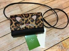 Authentic Kate Spade Run Wild Leopard Summer Leather Crossbody Bag Wallet new