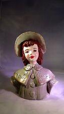 Antique 1951 Florence Ceramics Violet Wall Pocket Figurine