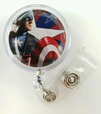Marvel CAPTAIN AMERICA, Retractable Badge, Name Tag, ID Holder, Glitter 3D Dome