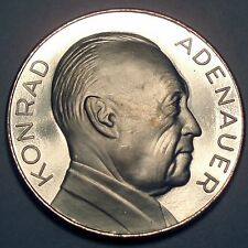 GERMANY, KONRAD ADENAUER 1876-1967 BU Proof Medal 35mm 14g Silver Plated.