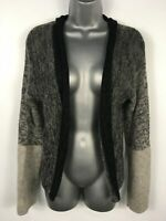 WOMENS LORENA ANTONIAZZI BLACK GREY WOOL MOHAIR CARDIGAN JUMPER SWEATER MEDIUM