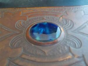 Vintage Antique Arts & Crafts tooled Leather Box RUSKIN Cabochon Cedar lined
