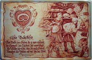 Beruf Bäcker Blechschild Metallschild Schild gewölbt Metal Tin Sign 20 x 30 cm