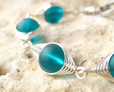 VALENTINA Teal blue green sea glass wire wrapped silver bracelet LEAD FREE recyc