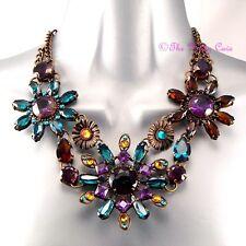 Stunning Artisan Rainbow Jewelled Flower Floral Cluster Statement Bib Necklace