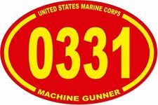 3 X 4.5 UNITED STATES MARINE CORPS USMC 0331 MACHINE GUNNER OVAL EURO STICKER