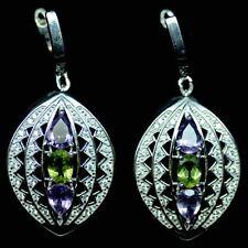 Sterling Silver 925 Genuine Natural Amethyst & Peridot Cluster Design Earrings