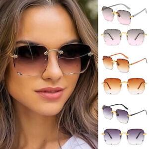 Ladies Square Rimless Sunglasses UV400 Spring Gradient Lens Trendy Sun Glasses