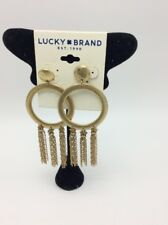 chain tassel drop large earrings #18 $35 Lucky Brand gold tone circle &