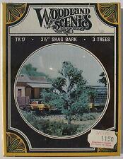 "WOODLAND SCENICS TK 17 - 3 1/5"" SHAG BARK - 3 TREES - drei Metall Bäume 8,89 cm"