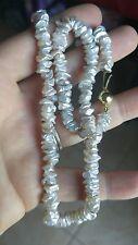 Nice Strand Freshwater White Light Gray Pearl Necklace 14K Gold  JKA Clasp