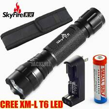 CREE XM-L T6 LED Tactical Flashlight Torch + 18650 Battery Charger Holster 501B