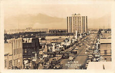 Anchorage AK Street View Store Fronts Old Cars Budweiser Truck RPPC Postcard