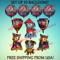 10 Pc ~PAW PATROL~ Balloon Set Rubble Marshall Chase Nickelodeon Birthday Party
