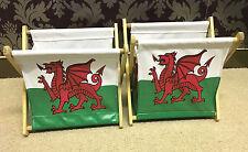 2 x Caja de almacenamiento de lona bandera galesa Organizador De Escritorio Papelería Oficina En El Hogar Dormitorio