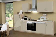 Einbauküche STOCKHOLM Küchenzeile mit Elektro-Geräten 280 cm hochglanz taupe