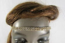 New Women Girls Elastic Band Metal Head Chain Fashion Jewelry Rhinestone Strand