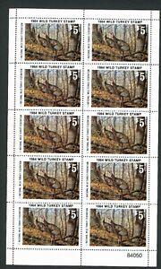 NATIONAL WILD TURKEY FEDERATION STAMP 1984 FULL SHEET OF 10 .Reg $35 single