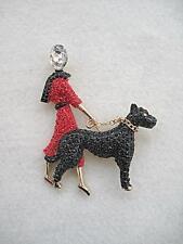 Stunning & Fun Red & Black Crystal Lady Walking a Dog Brooch