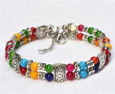 New Tibet silver multicolor jade turquoise bead bracelet Bangle