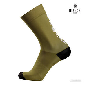 Bianchi Milano ORETO Coolmax Cycling Socks : OLIVE GREEN/BLACK