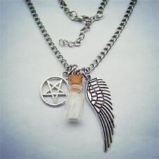 Natural Protection Necklace Angel Wing Pentagram Salt & Burn Bottle Pendant