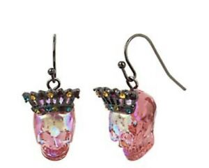 $32  Betsey Johnson ALL HALLOWS Pink  Crown Skull Hematite Tone drop earrings F1