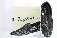 Joy and Mario Women's Sacramento Slip on Fashion Sneaker Shoes Black Lace New