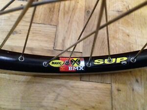 Mavic SUP X BMX rim with JP SB black low flange hub and DT Swiss spokes 36h 20""