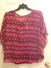 NWT New Directions Sheer Short Sleeve Red Geo Print Top w/Red Camisole Blouse 1X