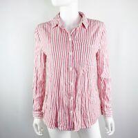 Beach Lunch Lounge White & Pink Striped Button Down Shirt Top Sz S Rayon