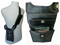 Black Leather Underarm Shoulder Holster Travel Wallet Bag Money Pouch Bags RL705
