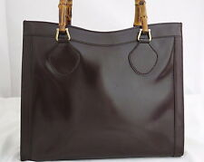 AUTHENTIC GUCCI Bamboo Dark Brown Coated Leather Handbag Goldtone Hardware