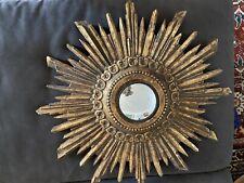 Hand Carved Gilt Wood Sunburst Starburst Mirror Antique Gold