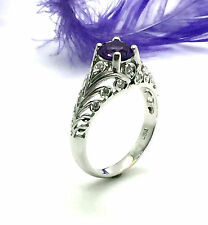 14k white gold Amethyst and Diamond Engagement Ring