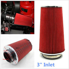 "1Pcs 3"" Inlet Car Auto Long Ram Cold Air Intake Filter Cone Filter Red  KN Types"