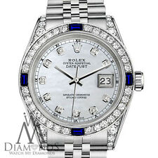Rolex 31mm Datejust Steel White MOP Dial Sapphire & Diamond Watch With A Track