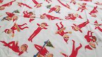 Elf On The Shelf Flannel Sheet Bottom Twin Bed Pottery Barn Kids 100% Cotton